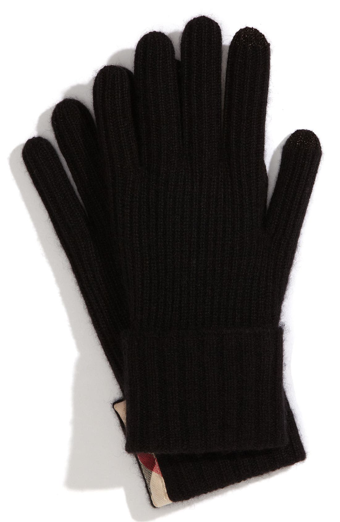 Alternate Image 1 Selected - Burberry Ribbed Cashmere Gloves