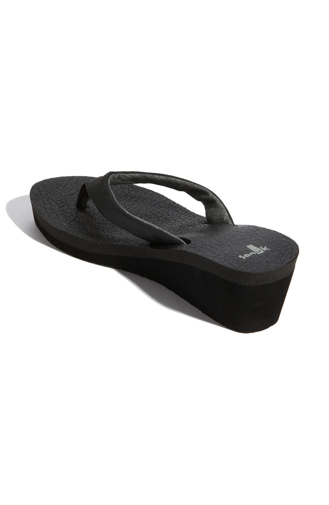 'Yoga Mat' Wedge Flip Flop,                             Alternate thumbnail 2, color,                             Black