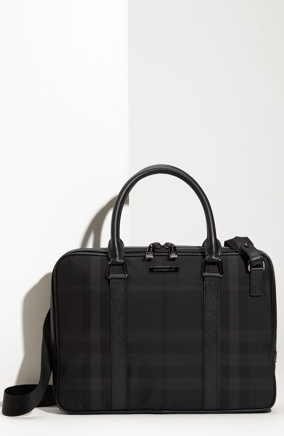 Main Image - Burberry Check Print Nylon Briefcase