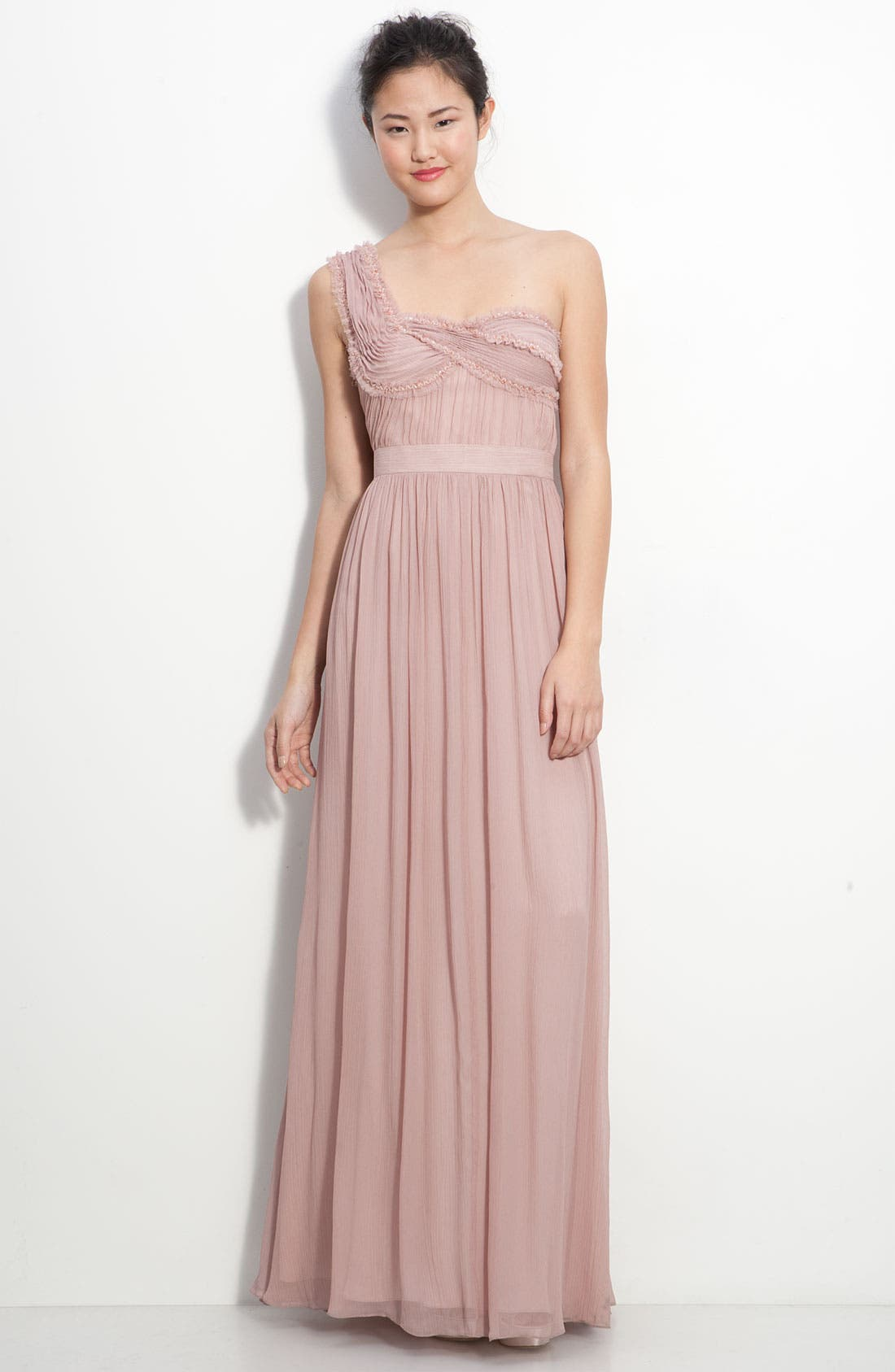 Alternate Image 1 Selected - Adrianna Papell Ruched Chiffon One Shoulder Gown