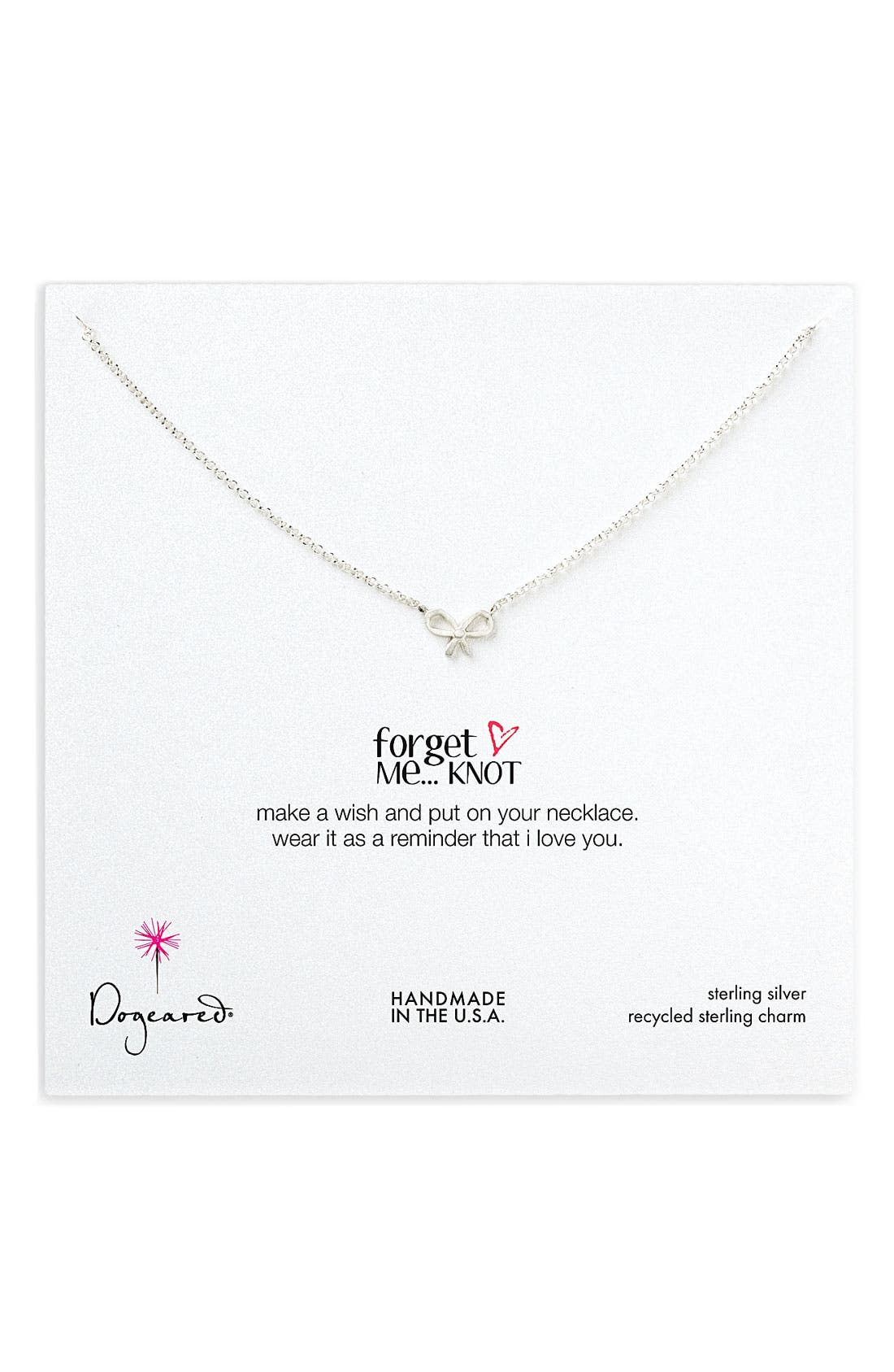 Main Image - Dogeared 'Forget Me Knot' Bow Pendant Necklace