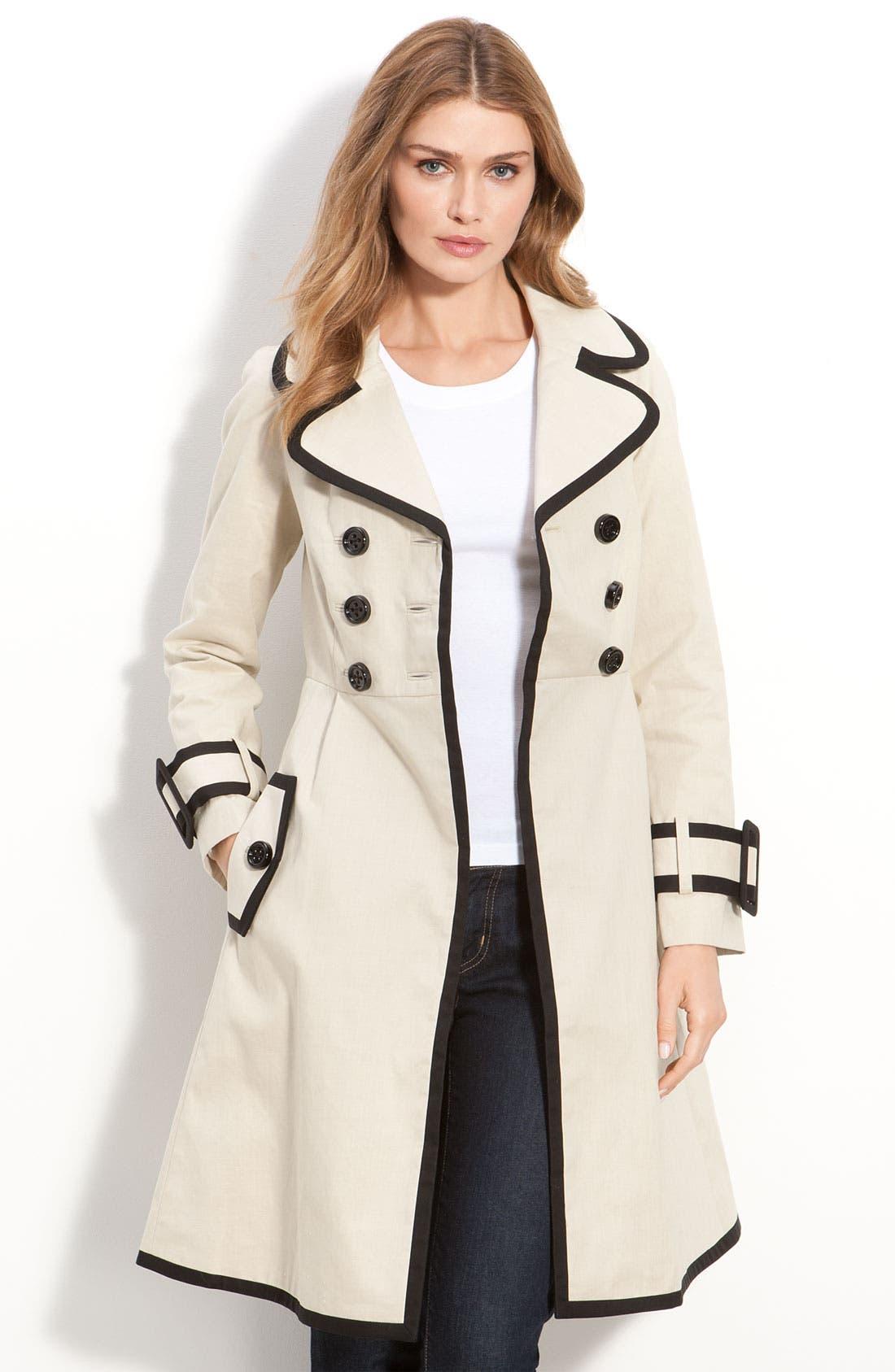Main Image - kate spade new york 'topliner' contrast trim trench coat