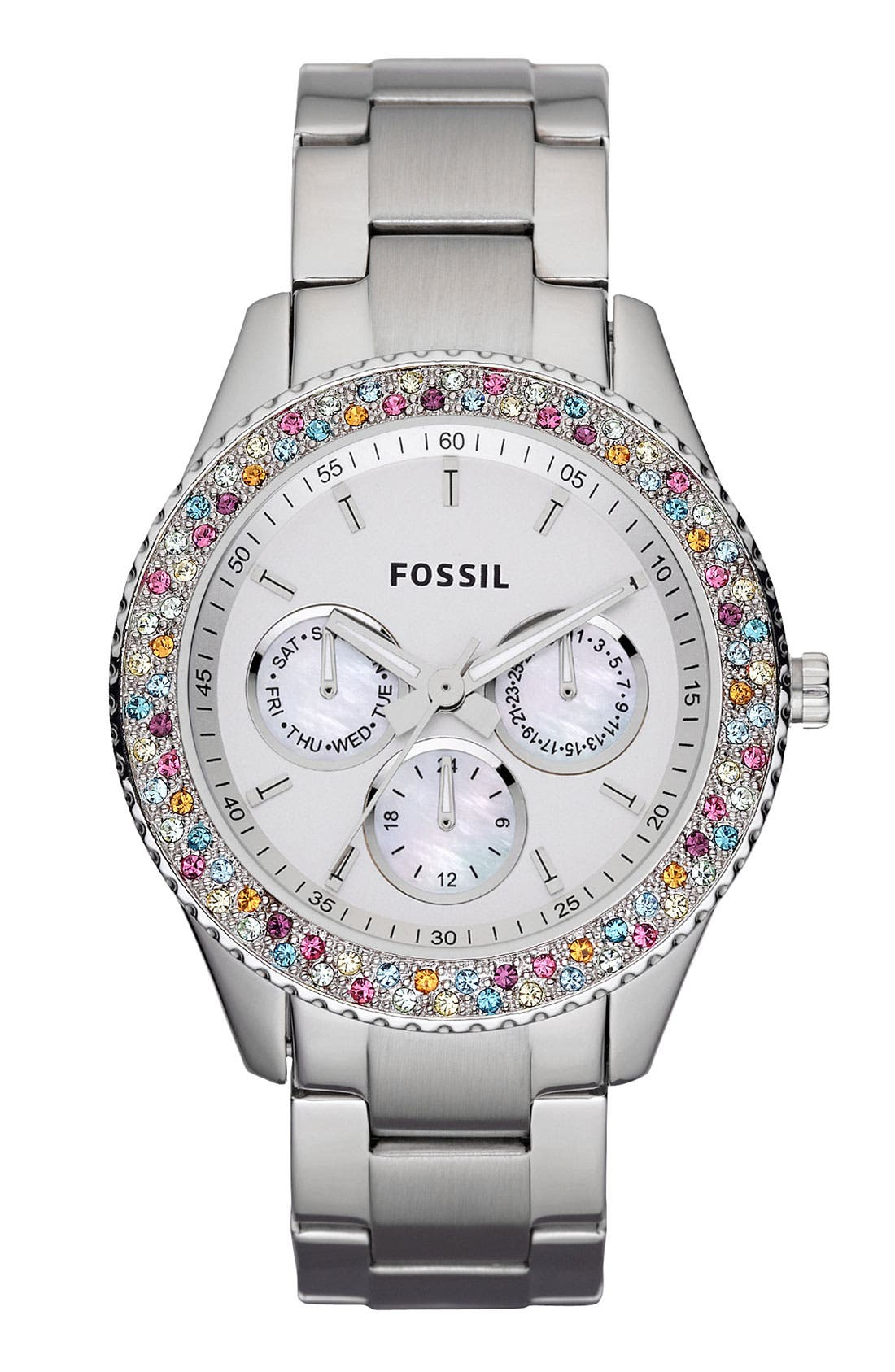 Alternate Image 1 Selected - Fossil 'Stella' Crystal Bezel Multifunction Watch, 37mm
