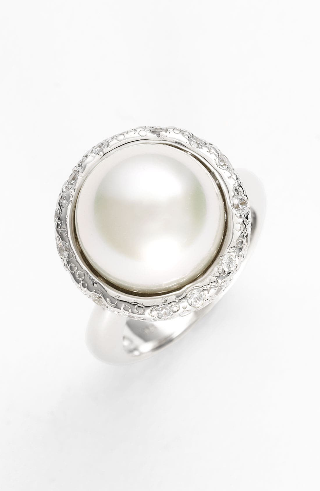 Alternate Image 1 Selected - Majorica 14mm Round Pearl & Crystal Ring