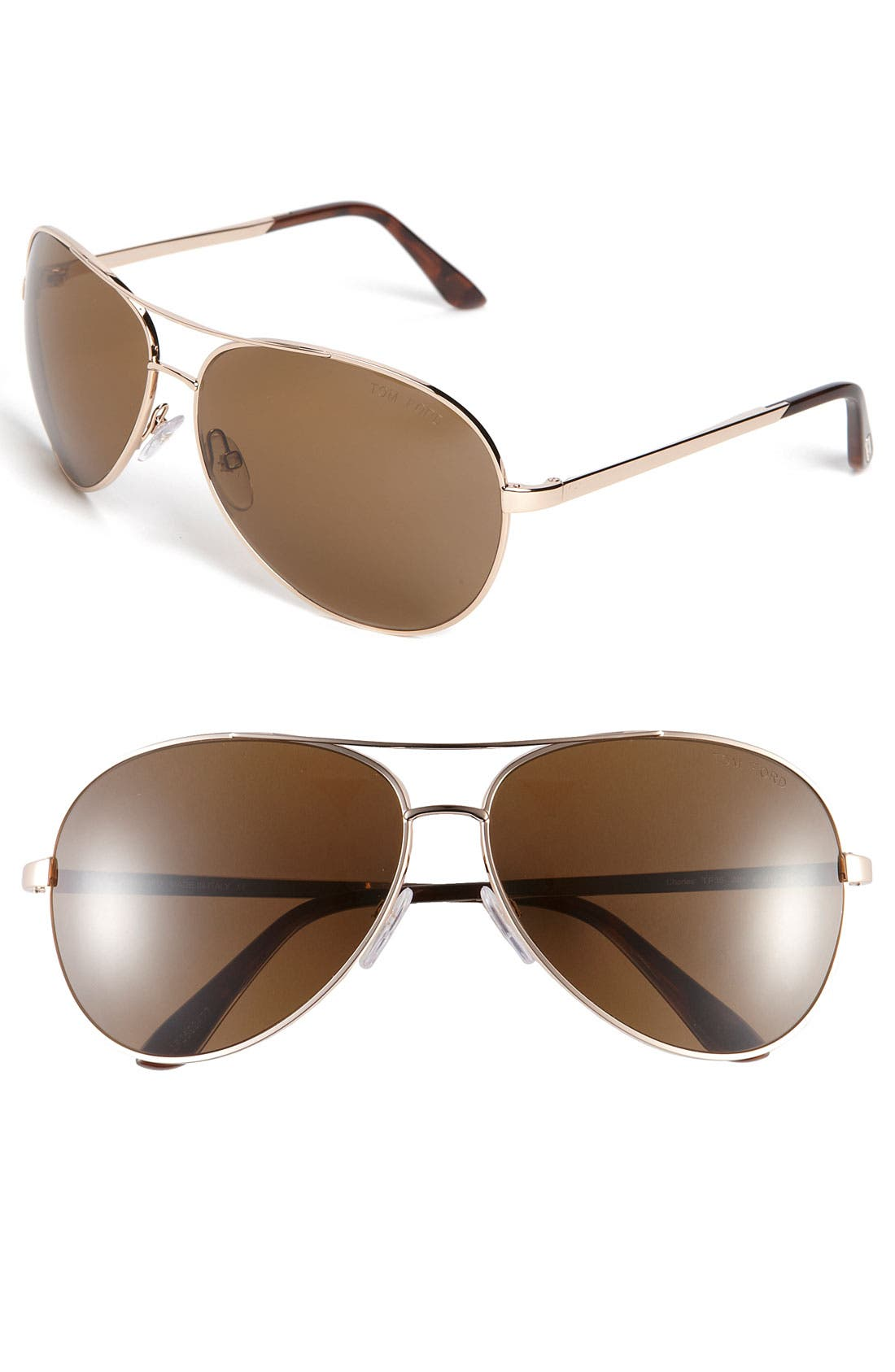 'Charles' 62mm Polarized Sunglasses,                         Main,                         color, Rose Gold/ Brown Polarized