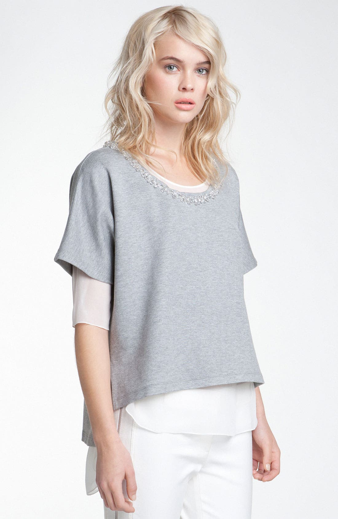Main Image - Robert Rodriguez Embellished Neck Double Layer Top