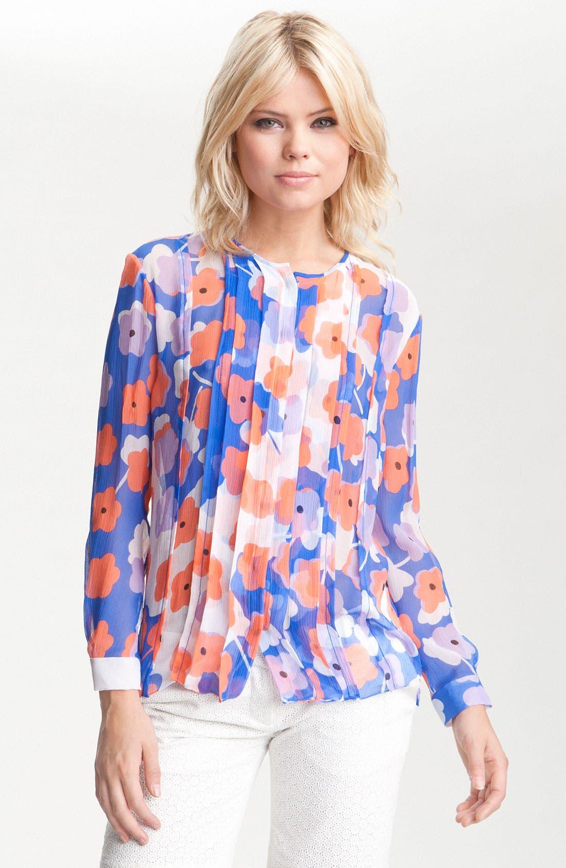 Alternate Image 1 Selected - Diane von Furstenberg 'Francesca' Sheer Print Silk Blouse