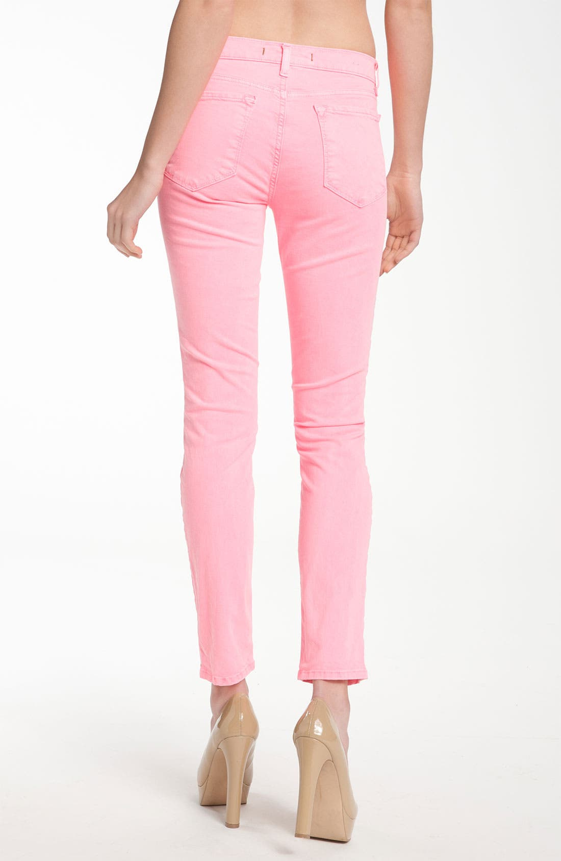Skinny Stretch Twill Pants,                             Alternate thumbnail 2, color,                             Neon Pink