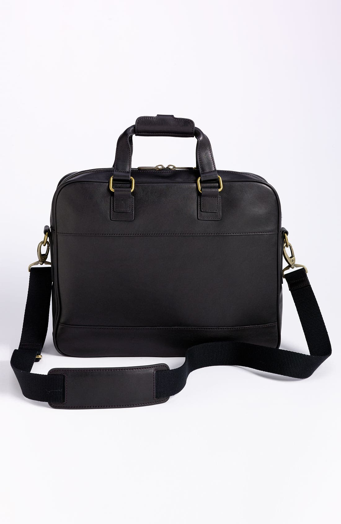 Top Zip Leather Briefcase,                             Alternate thumbnail 4, color,                             Black