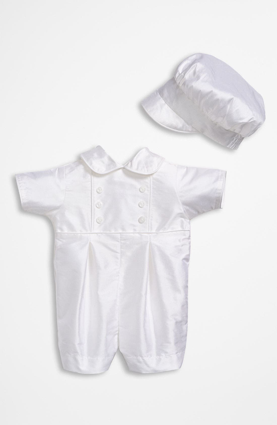 Main Image - Little Things Mean a Lot Dupioni Romper (Baby)