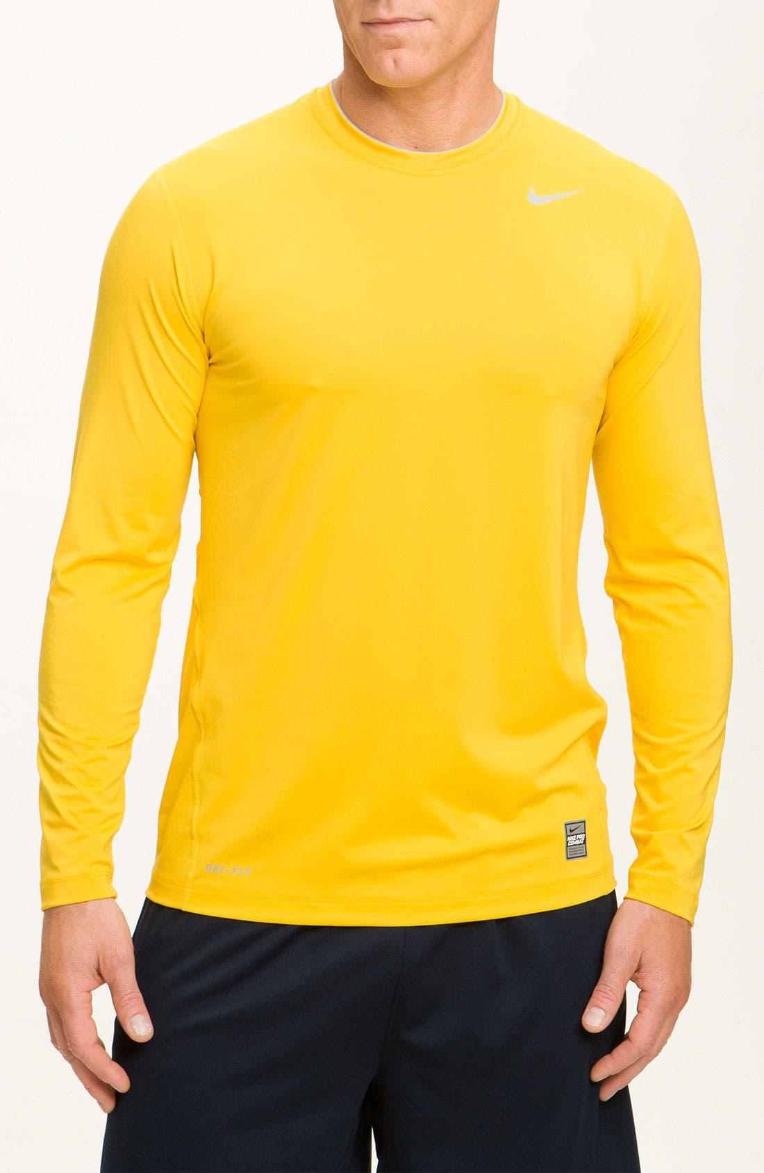 'Pro Combat' Dri-FIT Fitted Shirt,                         Main,                         color, Varsity Maize/ Matte Silver
