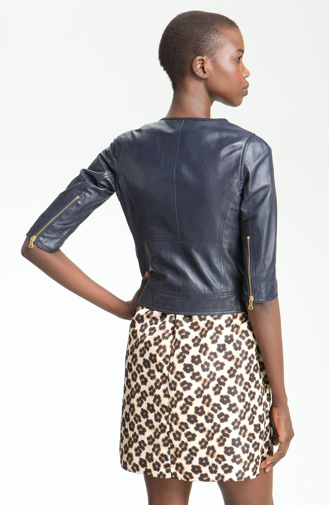 Alternate Image 2  - RED Valentino Crop Lambskin Leather Jacket