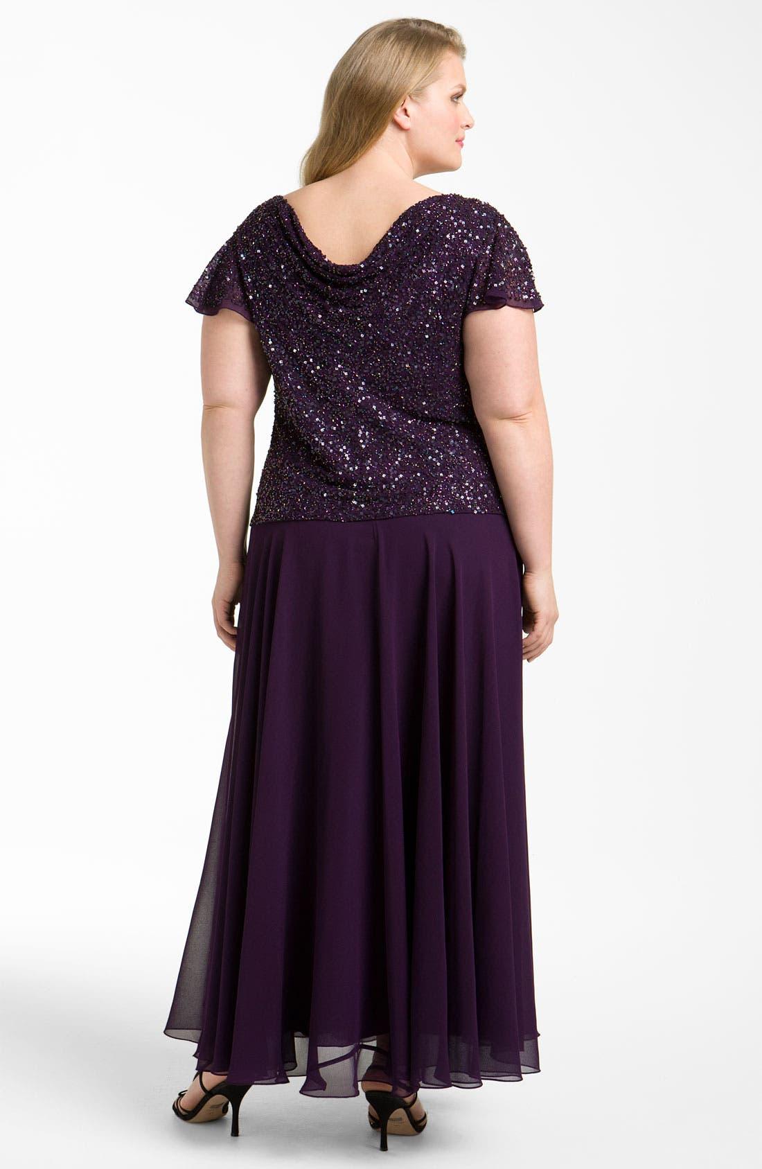 Alternate Image 2  - J Kara Embellished Mock Two-Piece Dress (Plus Size)