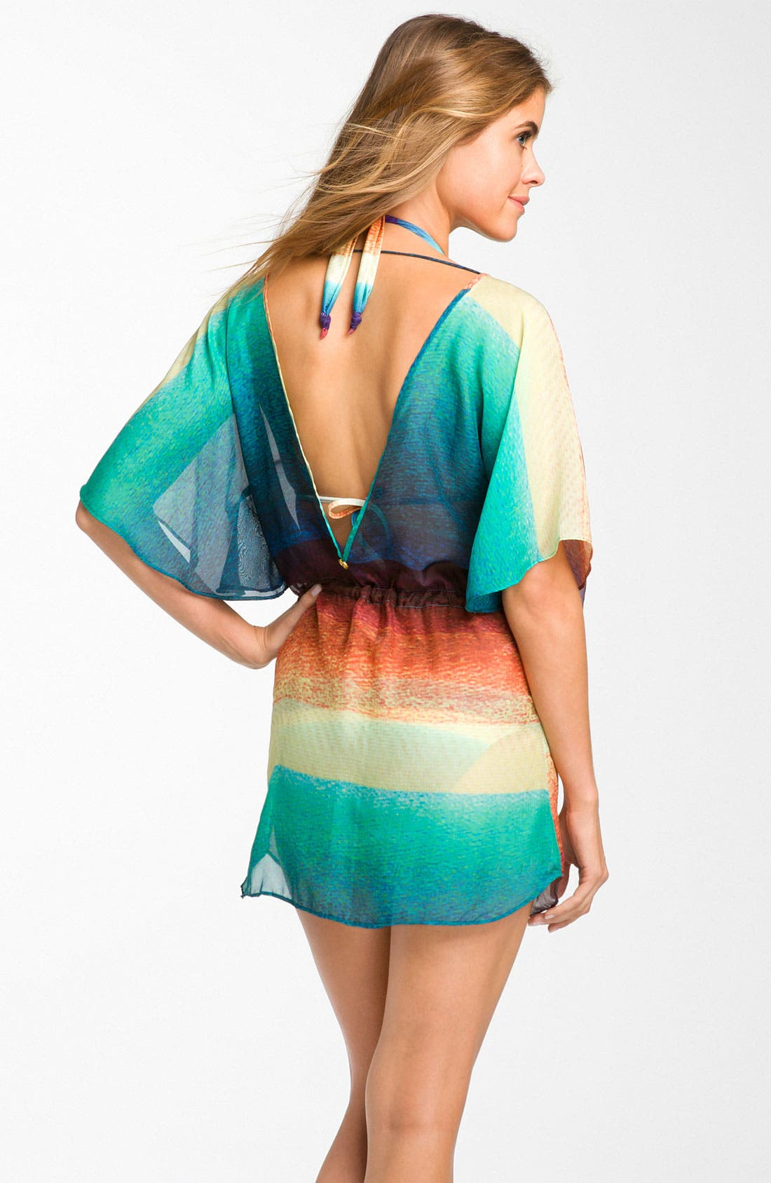 Alternate Image 2  - ViX Swimwear 'Buzios Lina' Silk Caftan Cover-Up