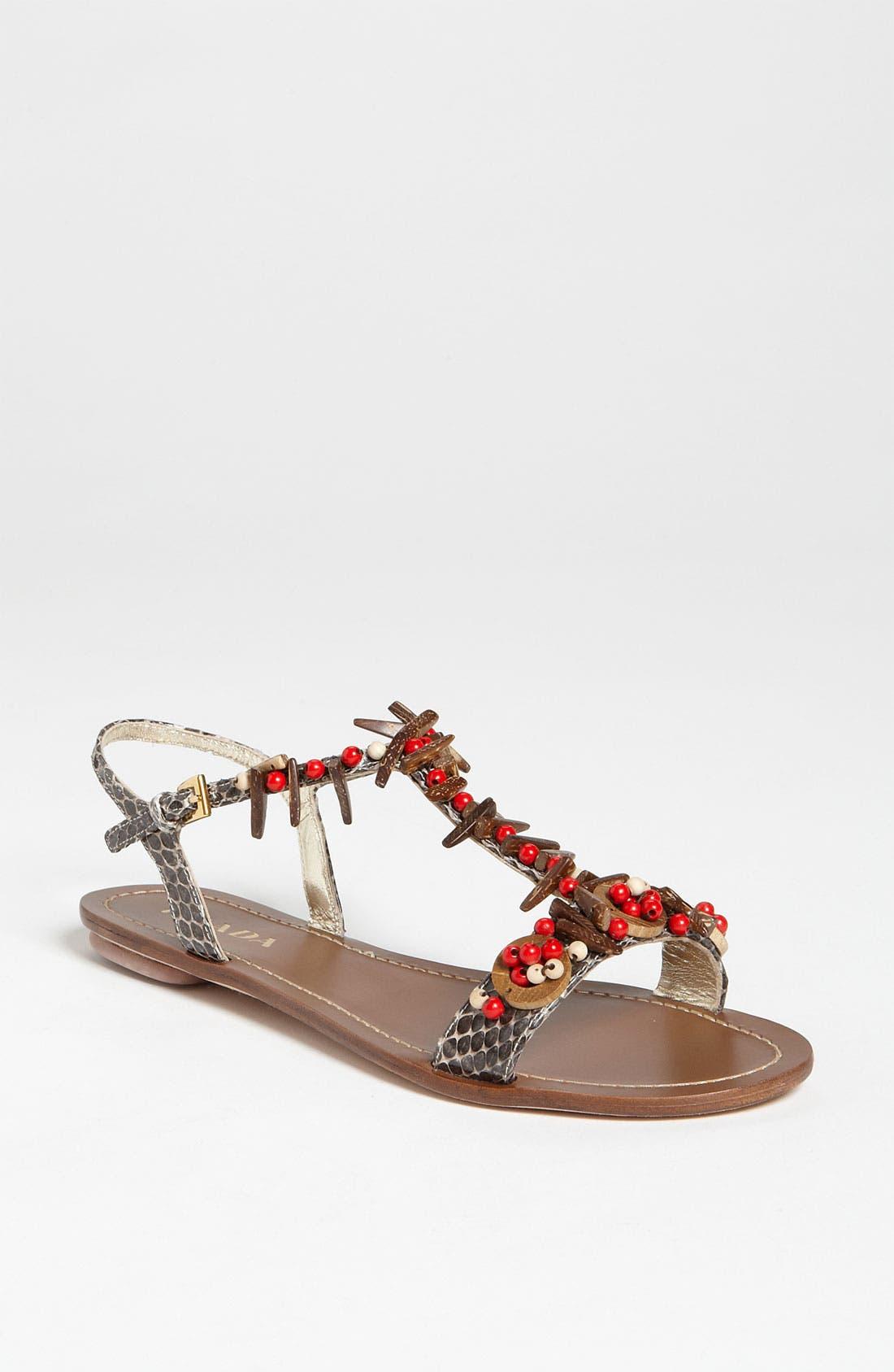 Alternate Image 1 Selected - Prada T-Strap Flat Sandal