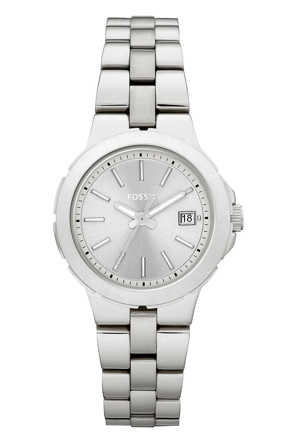 Alternate Image 1 Selected - Fossil 'Sylvia' Round Dial Bracelet Watch, 28mm