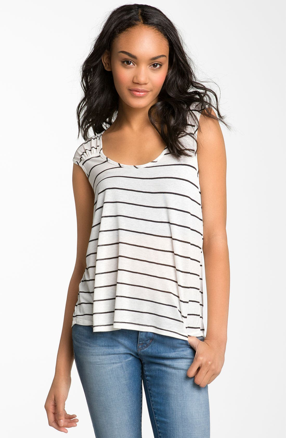 Main Image - Painted Threads Striped Ruched Shoulder Tee (Juniors)