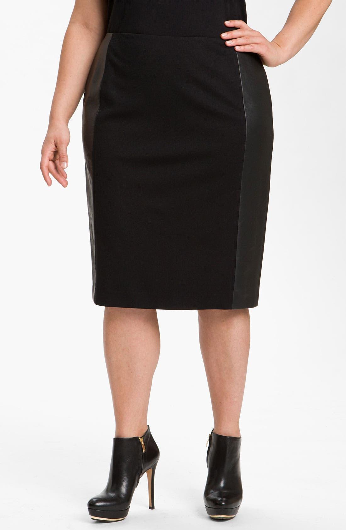 Main Image - Sejour Ponte Knit & Faux Leather Skirt (Plus)