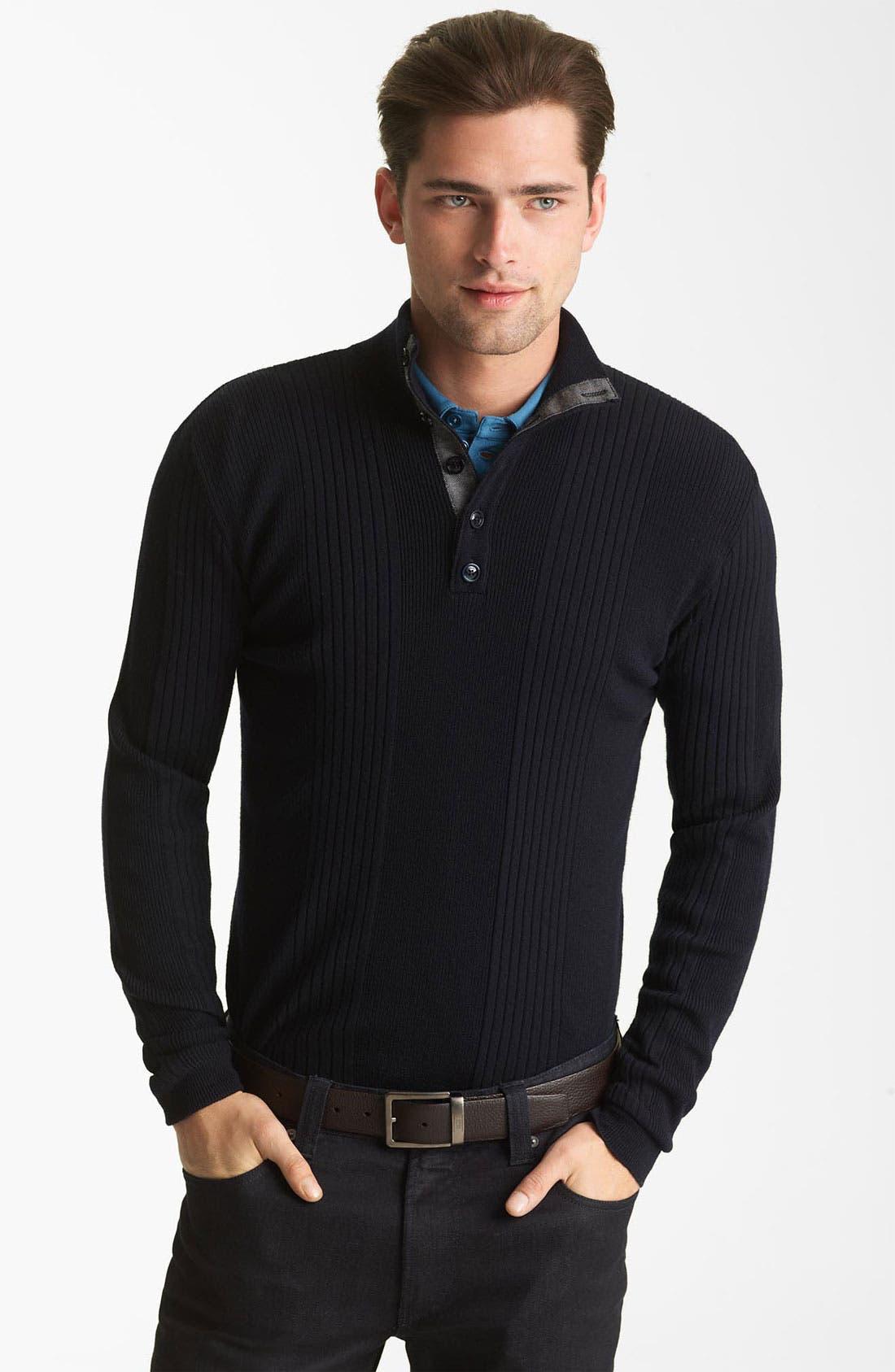 Main Image - Armani Collezioni Rib Knit Mock Neck Sweater