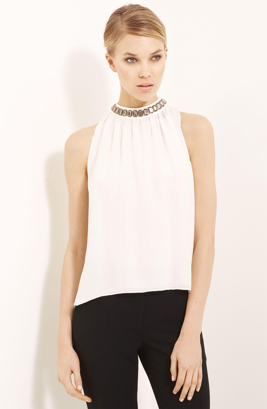 Alternate Image 1 Selected - Moschino Cheap & Chic Jewel Neck Silk Chiffon Blouse