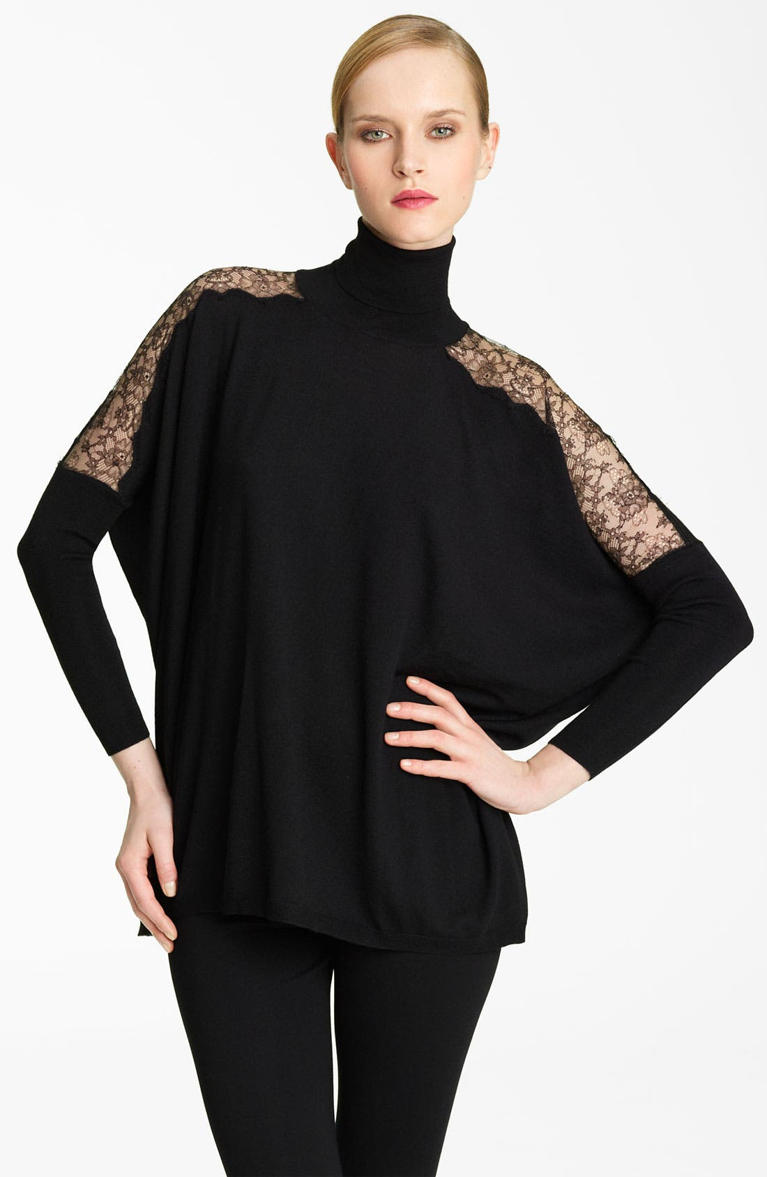 Main Image - Valentino Lace Detail Turtleneck