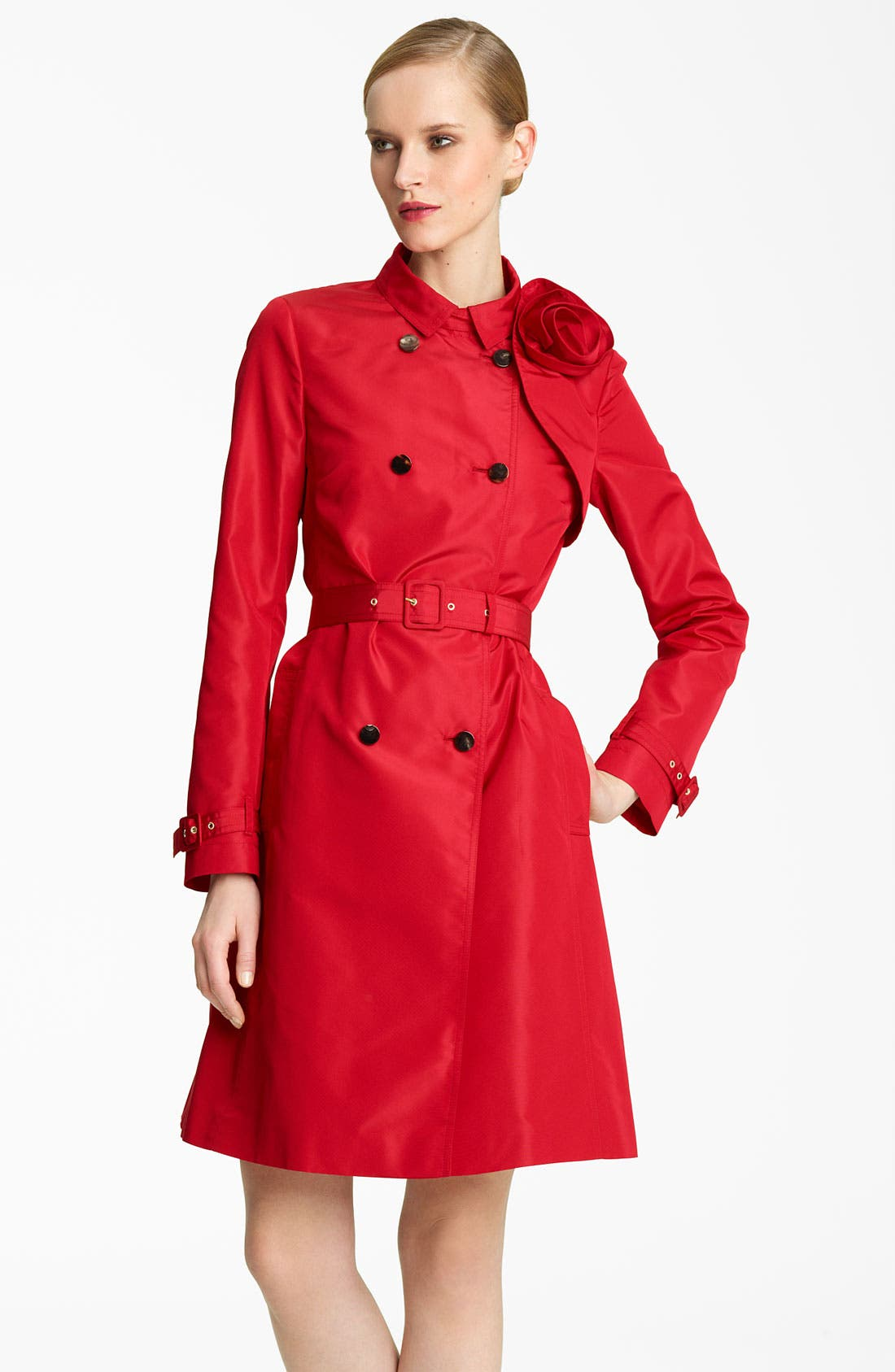 Main Image - Valentino Rosette Detail Belted Faille Trench