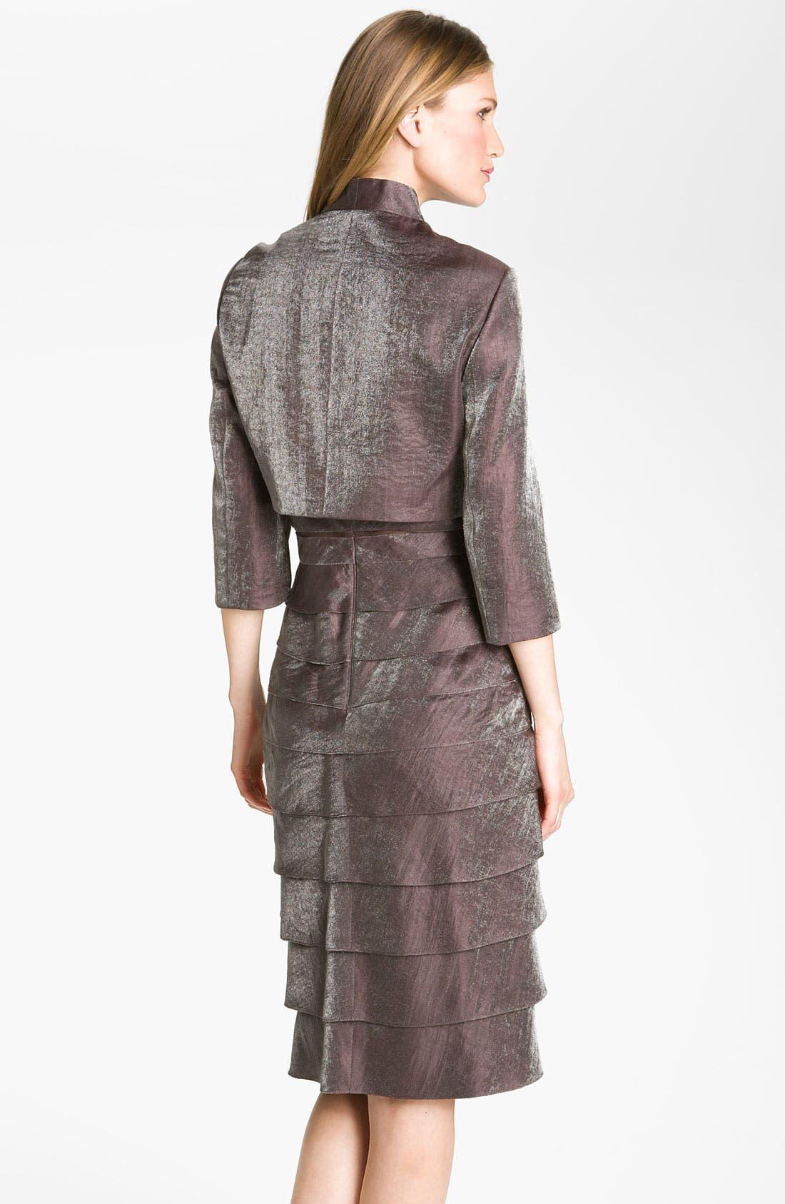 Alternate Image 2  - Adrianna Papell Tiered Hammered Satin Sheath Dress & Bolero (Regular & Petite)