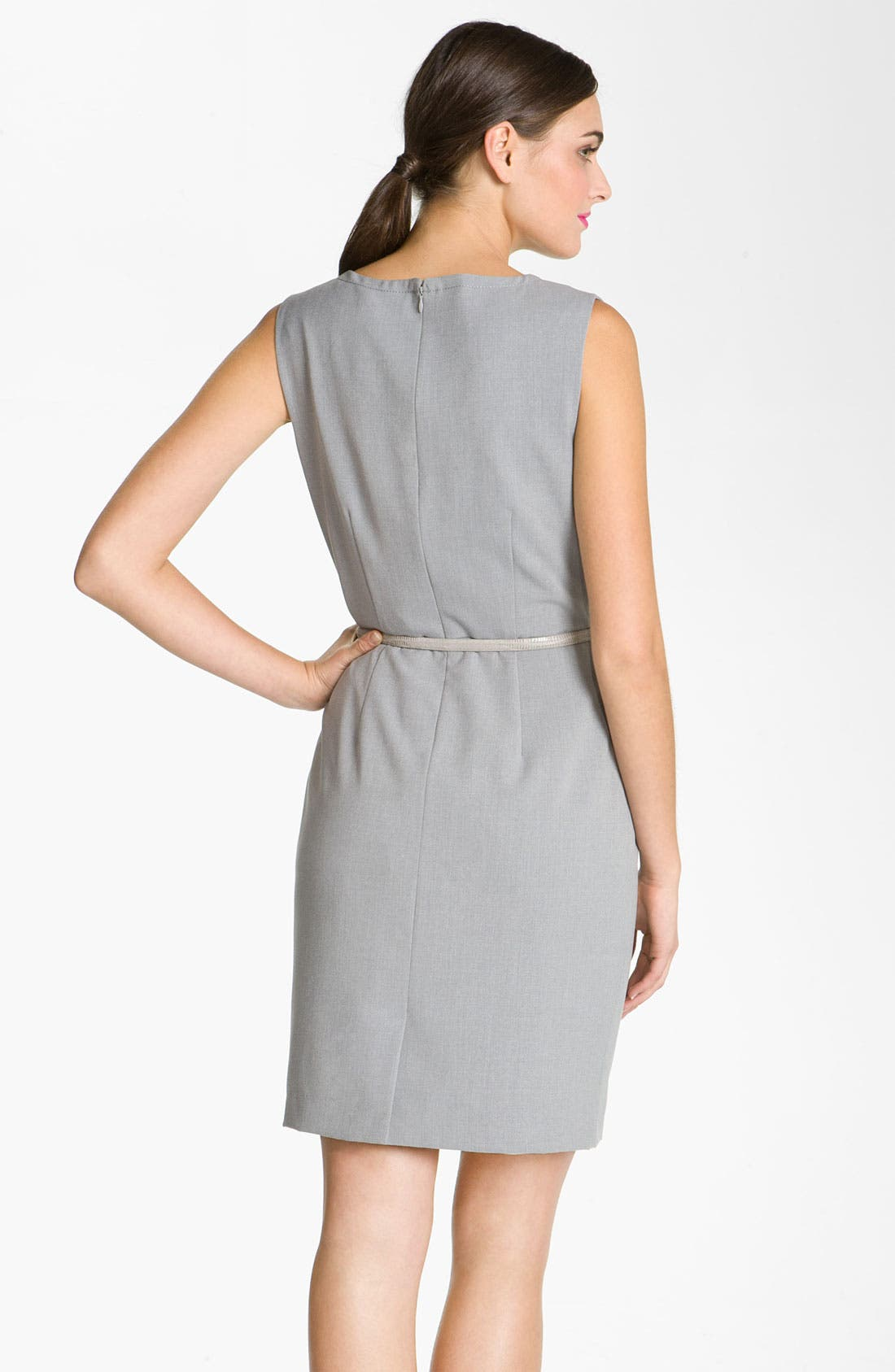 Alternate Image 2  - Calvin Klein V-Neck Menswear Belted Sheath Dress