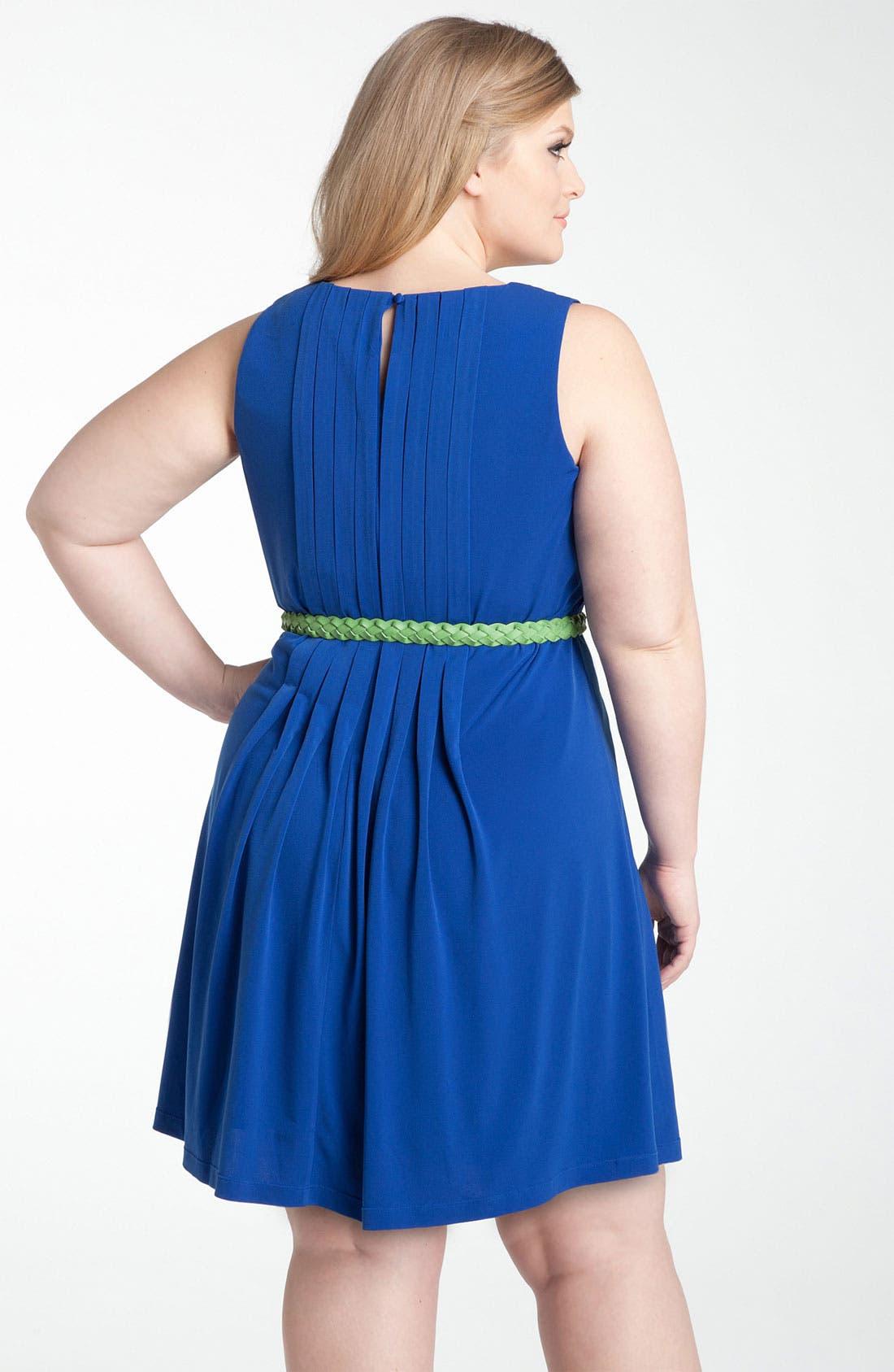 Alternate Image 2  - Calvin Klein Belted Jersey Dress (Plus)