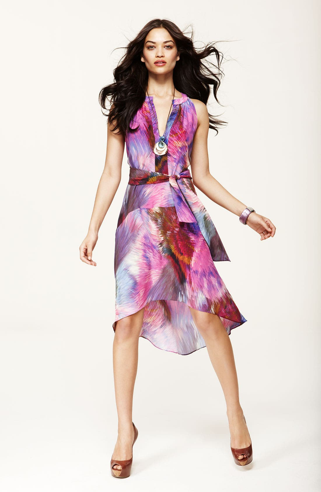 Alternate Image 1 Selected - Presley Skye Split Neck Silk Tunic Dress