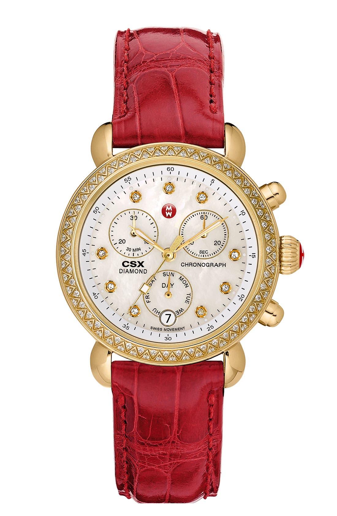 Alternate Image 3  - MICHELE 'CSX-36 Diamond' Diamond Dial Gold Plated Watch Case, 36mm