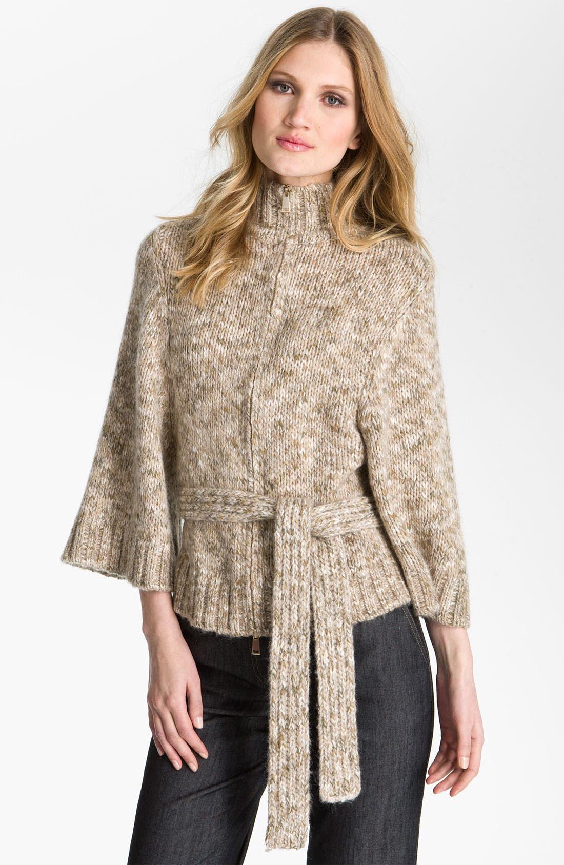 Main Image - St. John Yellow Label Belted Tweed Knit Cardigan