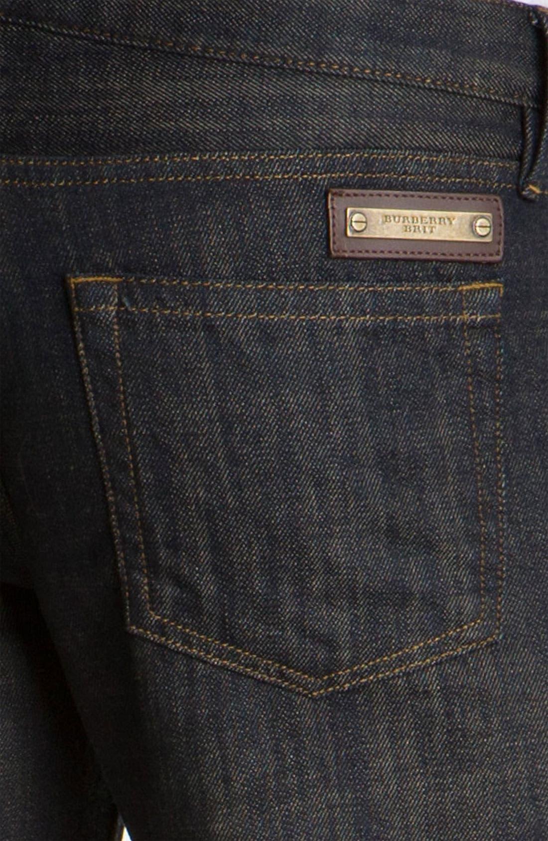 Alternate Image 4  - Burberry Brit 'Cavendish' Resin Washed Denim Jeans (Indigo Blue)