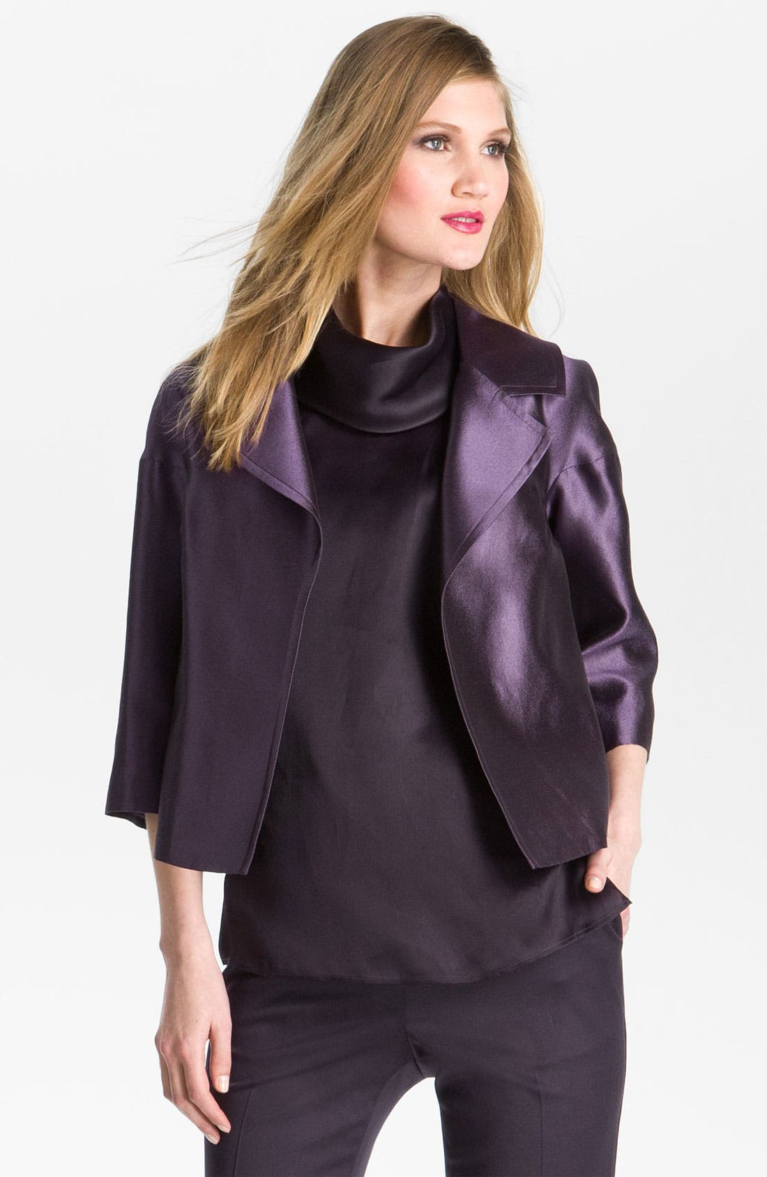 Alternate Image 2  - St. John Collection Wool & Silk Taffeta Boxy Jacket