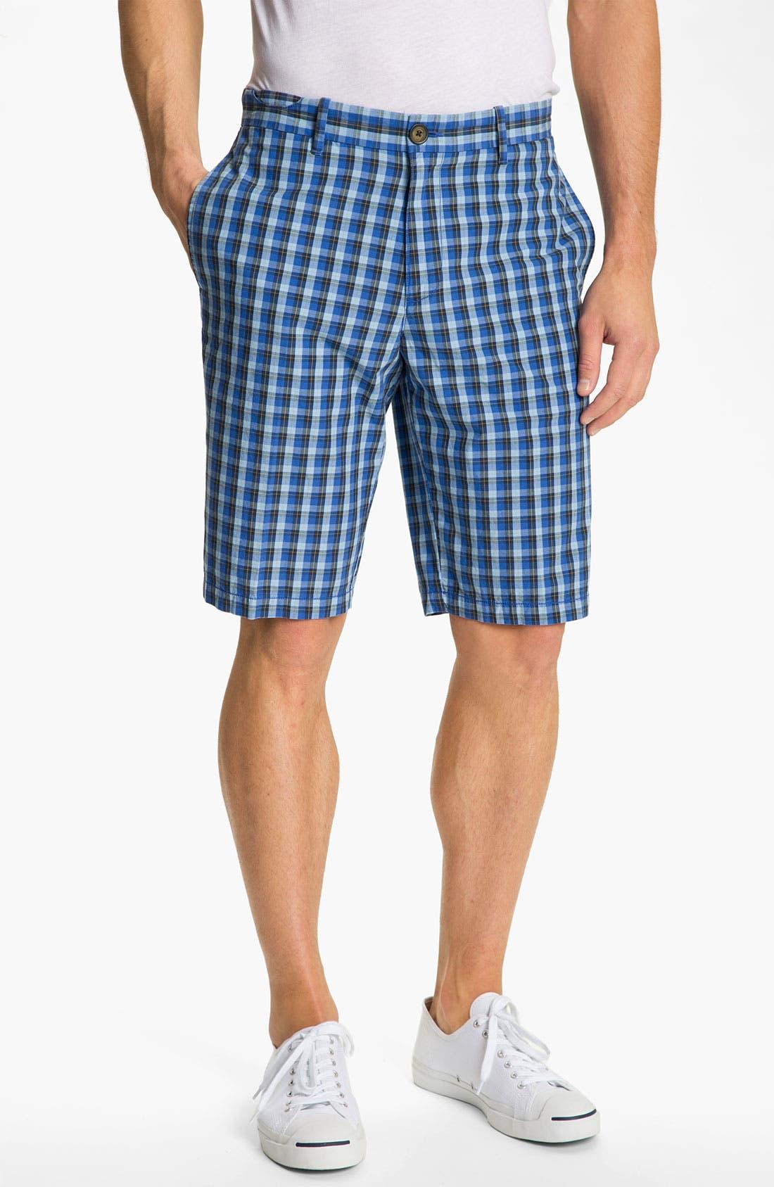 Main Image - Original Penguin 'Ferullo' Plaid Bermuda Shorts