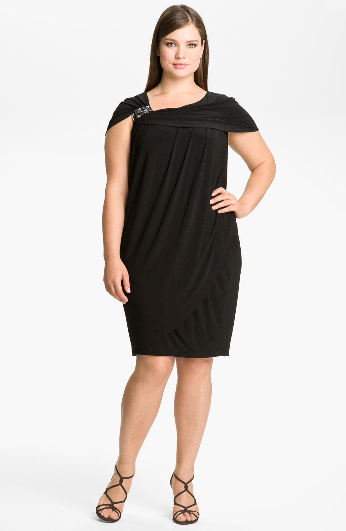 Alternate Image 1 Selected - Alex & Eve Beaded Jersey Dress (Plus Size)
