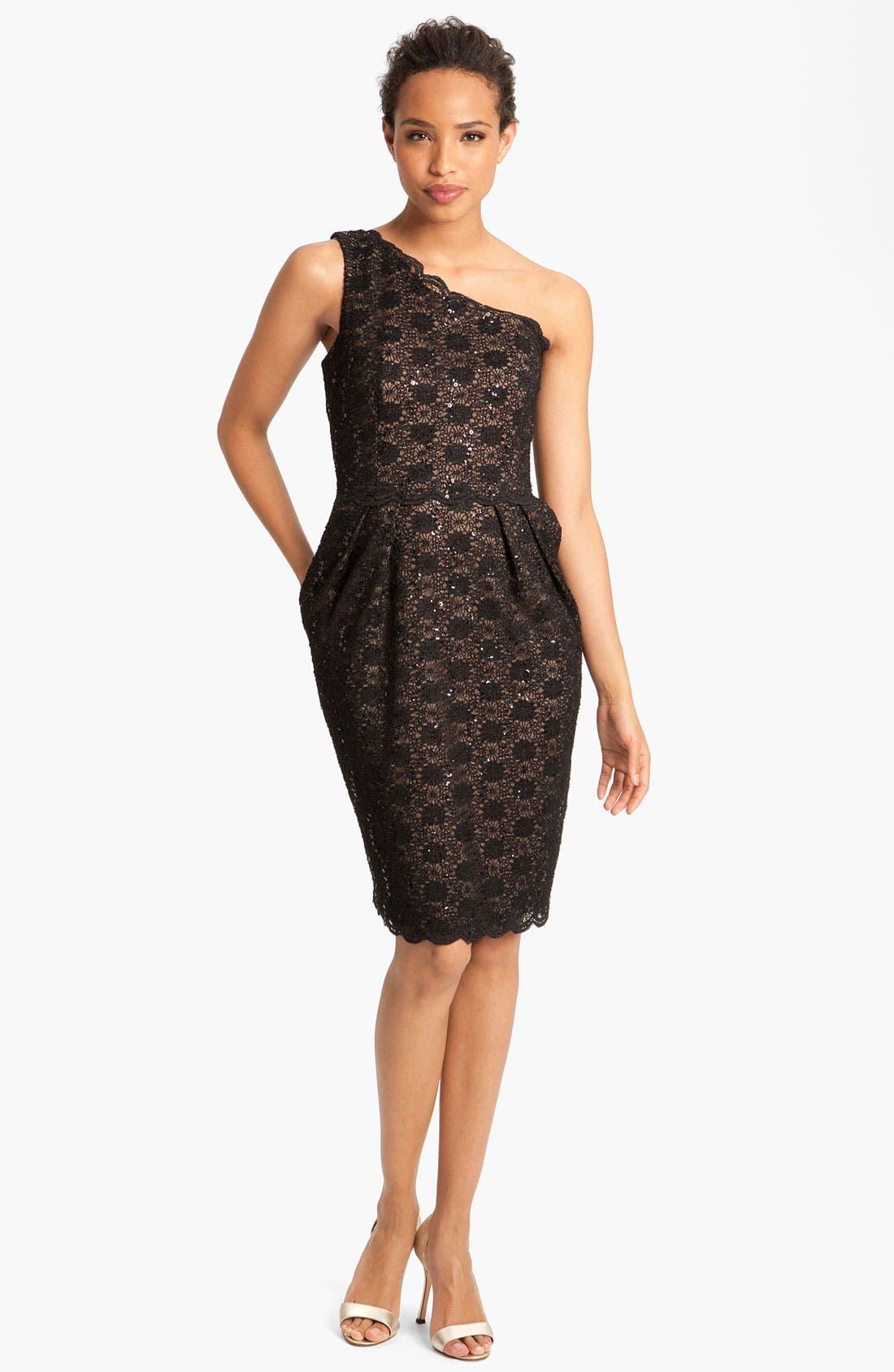 Alternate Image 3  - Alex Evenings One Shoulder Lace Sheath Dress