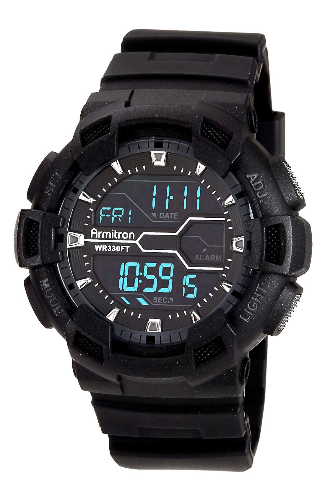 Main Image - Armitron Round Digital Resin Watch, 53mm