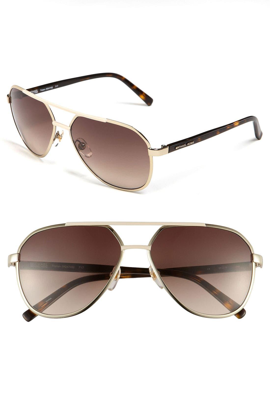 'Tristan' 59mm Aviator Sunglasses,                         Main,                         color, Gold/ Brown Gradient