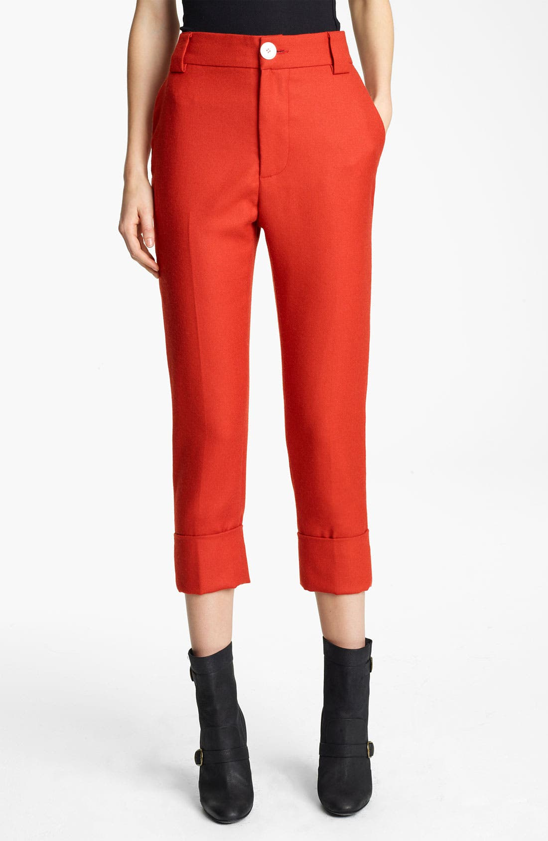 Alternate Image 1 Selected - Band of Outsiders Crop Straight Leg Flannel Pants