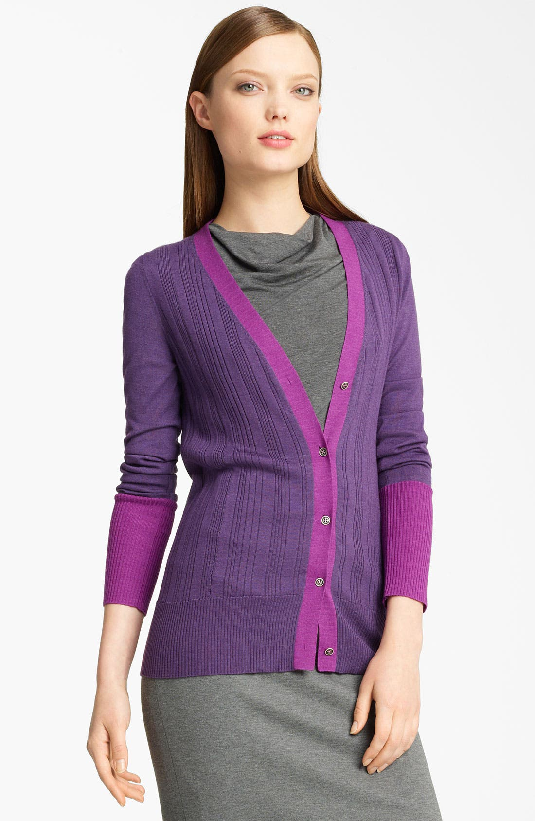 Main Image - Lida Baday Contrast Trim Cardigan