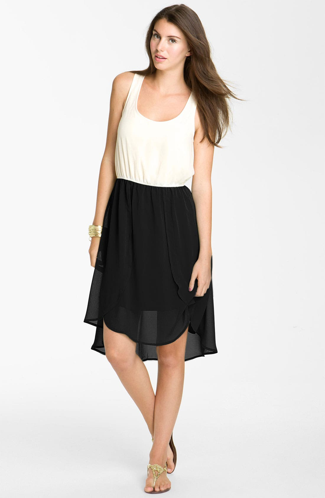 Main Image - Fire Colorblock Chiffon Dress (Juniors)