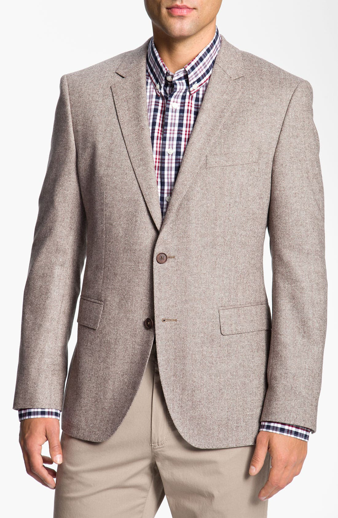 Alternate Image 1 Selected - BOSS Black 'Smith' Trim Fit Herringbone Sportcoat