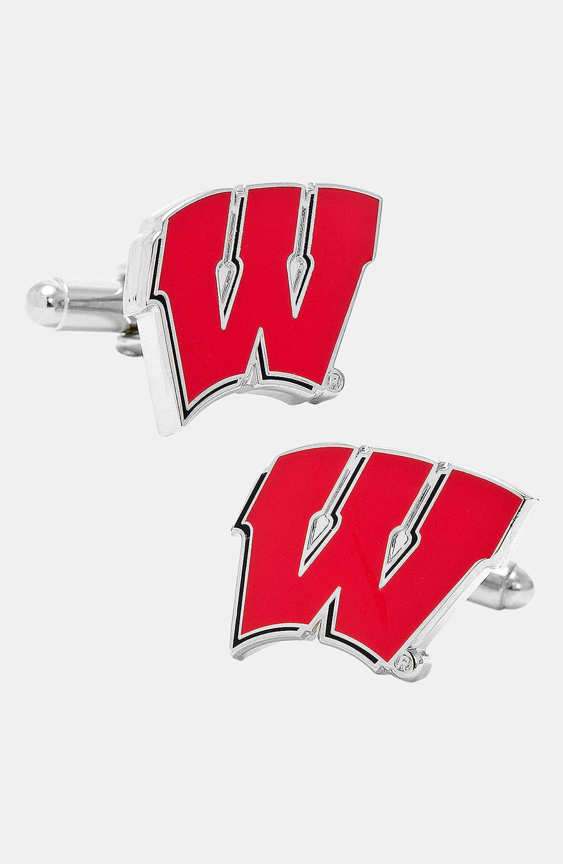 'University of Wisconsin Badgers' Cuff Links,                         Main,                         color, Red/ White