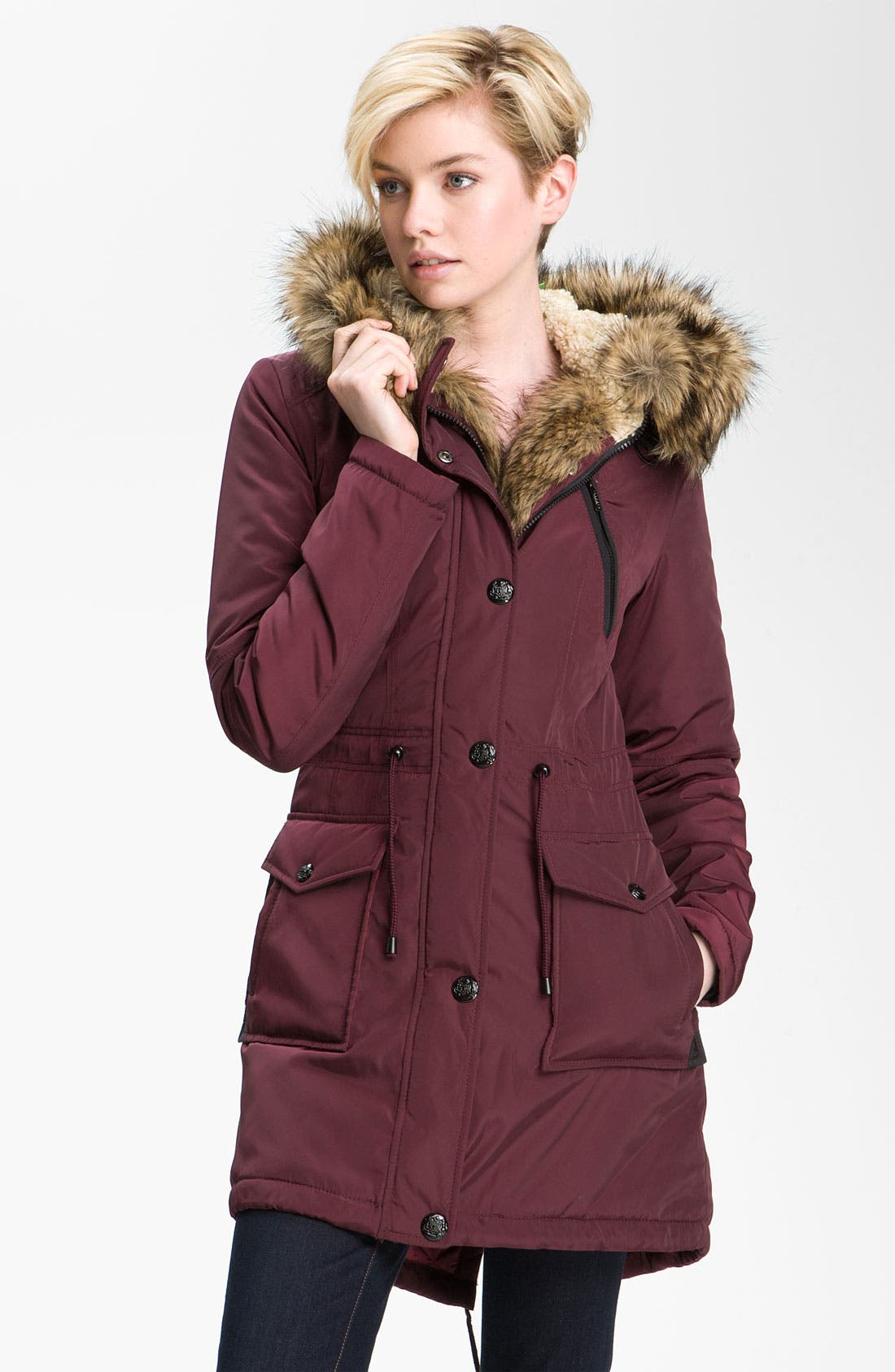 Alternate Image 3  - Laundry by Shelli Segal Faux Fur Trim Anorak