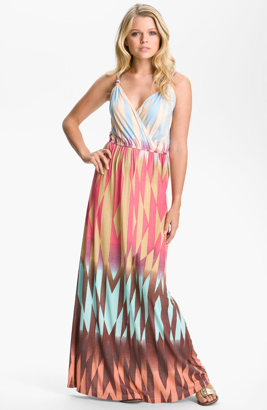 Main Image - Presley Skye Print Surplice Jersey Maxi Dress