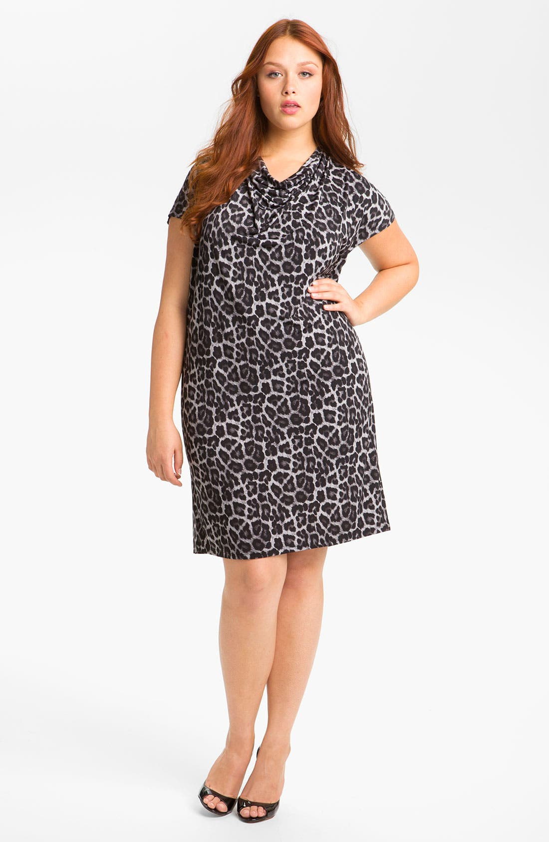 Main Image - MICHAEL Michael Kors Print Cowl Neck Shift Dress (Plus)