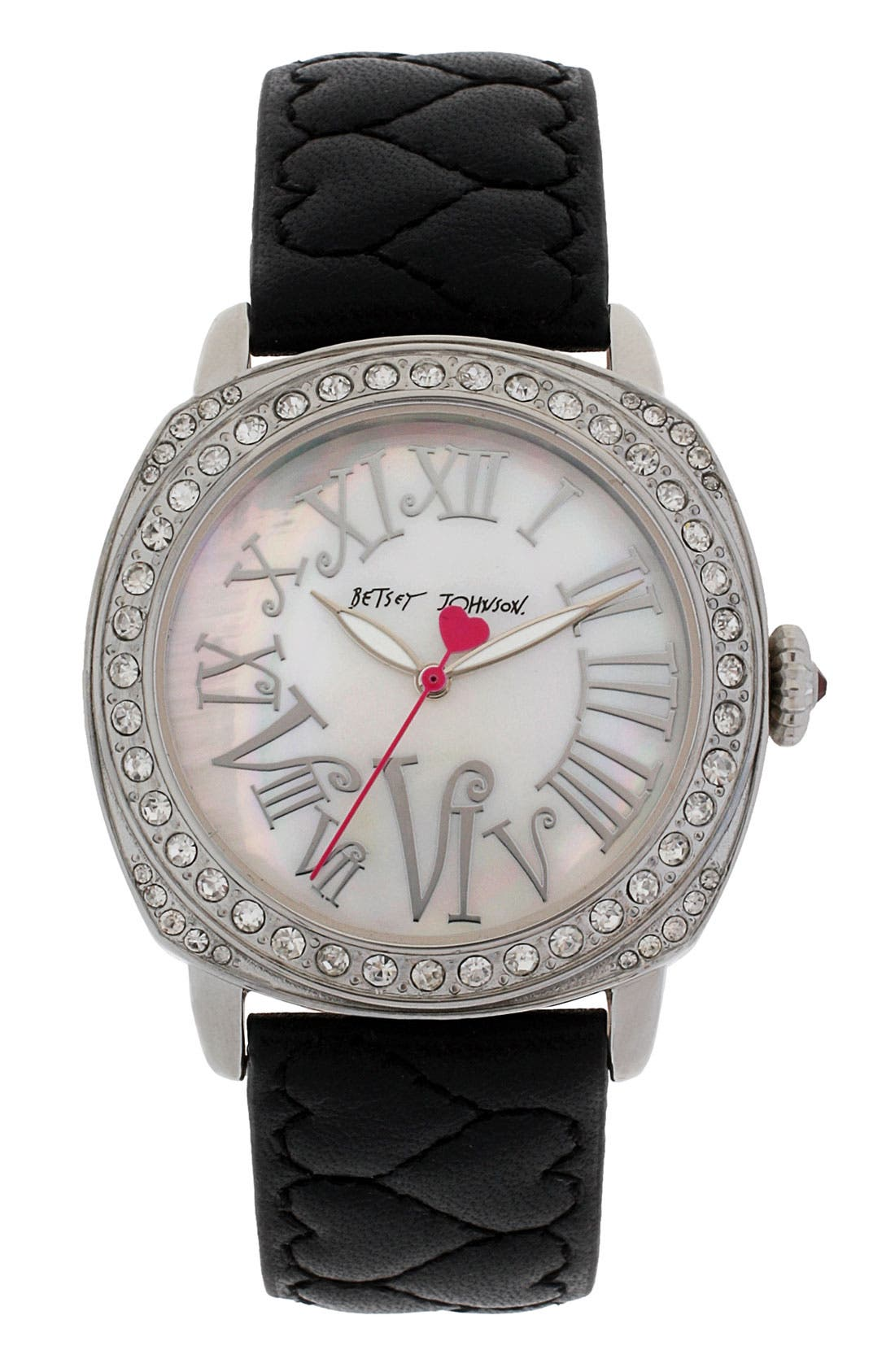 Main Image - Betsey Johnson Heart Quilted Leather Strap Watch