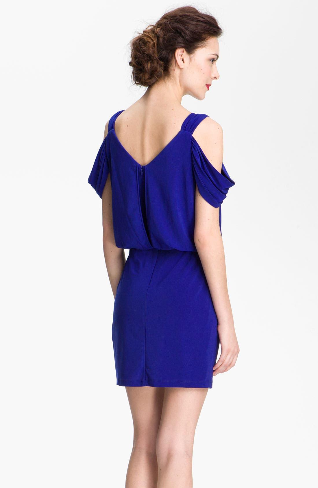 Alternate Image 2  - Xscape Open Shoulder Jersey Blouson Dress