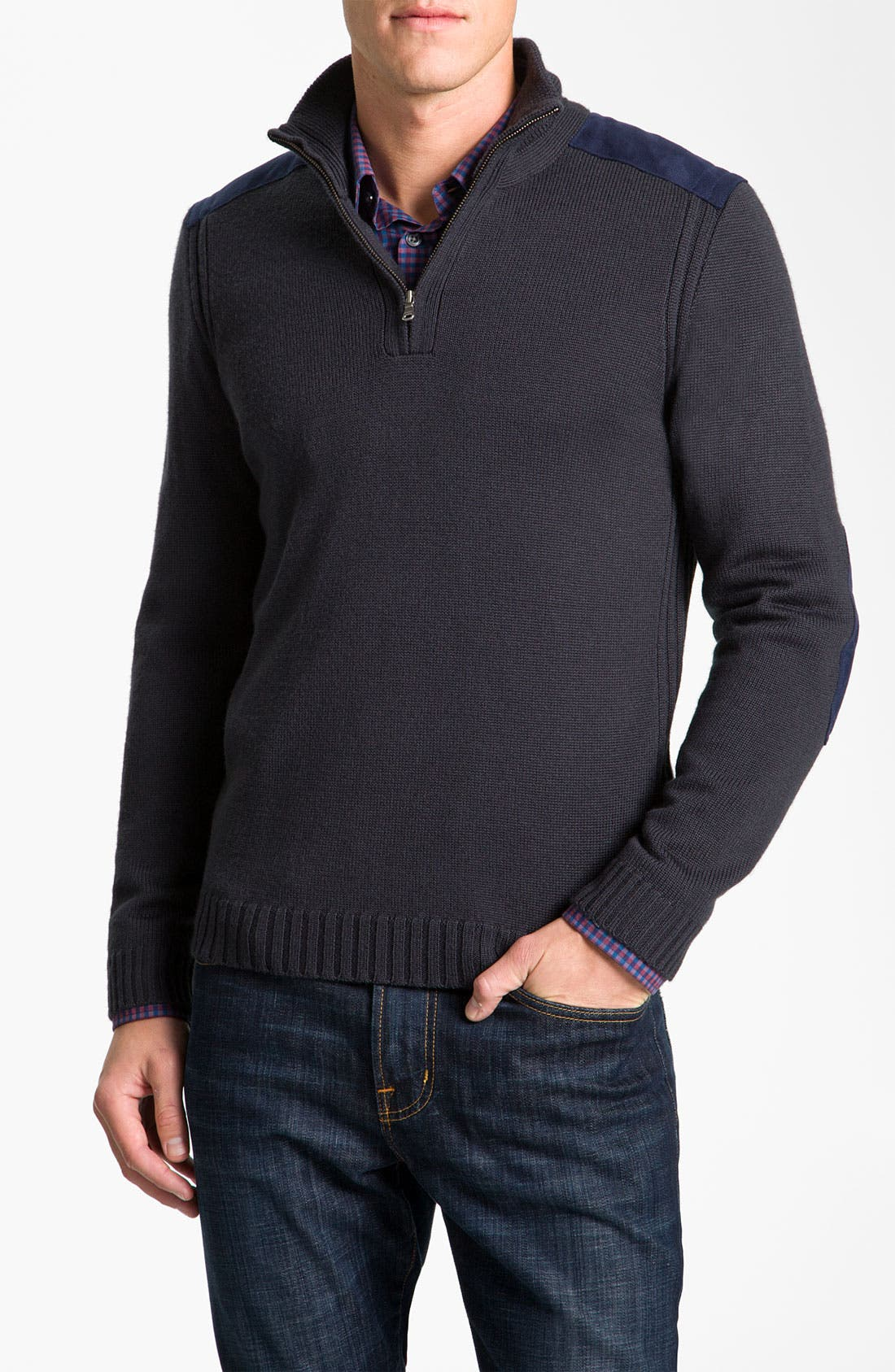 Alternate Image 1 Selected - BOSS Black Quarter Zip Regular Fit Sweater